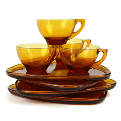 Vintage Lancaster Glass Amber Snack Set