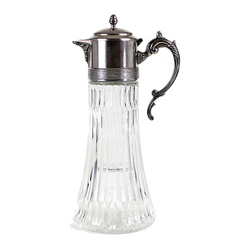 F.B. Rogers Ice Tea Pitcher, Glass with Ornate Silver Lid