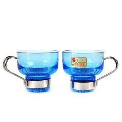 Espresso Cups, Sapphire Blue Glass by Spa Lubiana, Italy