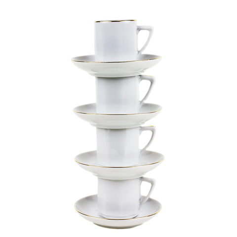 Set/4 Espresso Cups and Saucers, Istanbul Porcelen, 22k Gold Trim