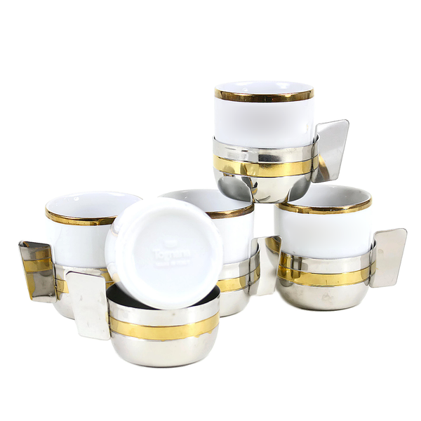 Tognana Espresso Cups, 2-Tone Metallic Cup Holders, Italy ...