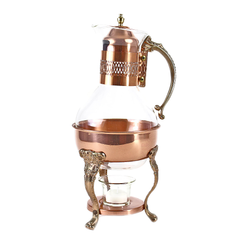 Vintage Copper & Brass Coffee Carafe, Princess House Crystal