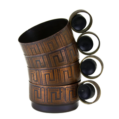 Vintage Metal Mugs. Greek Fret Pattern.