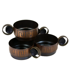 Metal Teacups. Round Handles. Bronze Greek Key Pattern.