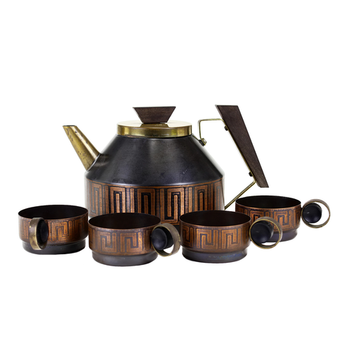 Collectible Metal Art Deco Tea Set, Black-Bronze-Gold with Greek Key Design