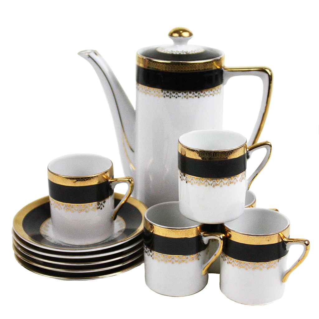 China Coffee Pot Demitasse Set, Art Deco Vintage, Japan