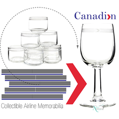 Collectible set of 8 first class Canadian Airlines whiskey glasses is a great collection of airline memorabilia.