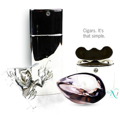 Gifts for Him or Her - Silver Plated Cigar Holder paired with Amethyst Art Glass Cigar Holder
