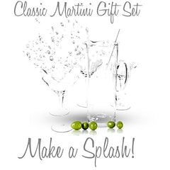 Classic Crystal Martini Gift Set, Pitcher, Stirring Rod, Martini Glasses
