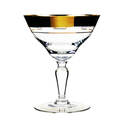 Vintage Czechoslovakian Crystal Champagne Coupes, 22k Gold Bands