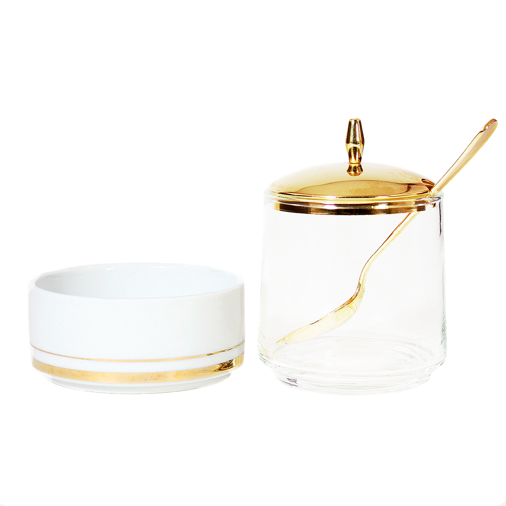 Mid century modern 1960's vintage breakfast set includes glass jam pot with brass spoon and gold lid, and white ramekin with gold trim.