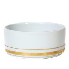 Vintage white ramekin with gold trim