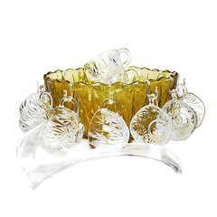 Vintage Punch Set 'Golden Anniversary' Special Edition, Amber Glass Bowl, Clear Mugs and Ladle