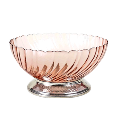 This pretty pedestal serving bowl from France was made by Arcoroc in their now discontinued 'Rosaline' pink swirl pattern.