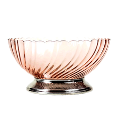 Pedestal Serving Bowl from France made by Arcoroc in a pink swirl pattern. A lovely tempered glass bowl accented with chrome pedestal base & scallop shaped rim.