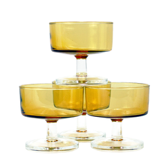 Vintage Amber Coupes with Clear Stems by Luminarc, France.