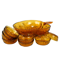 Mid Century fruit bowl set. Amber glass. Wedding gift idea.