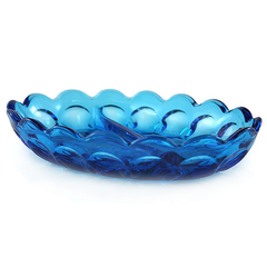 Blue condiment dish. Scalloped edges, pressed glass pattern. Made by Anchor Hocking. Pattern Fairfield.