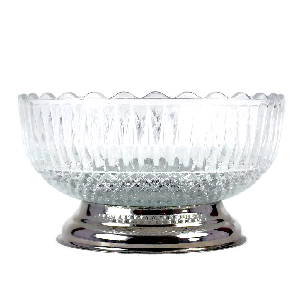 Vintage Mid-Century Glass and Chrome Serving Bowl