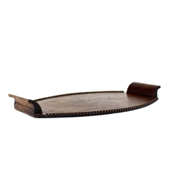 Wooden Serving Tray, Decorative Spool Trim