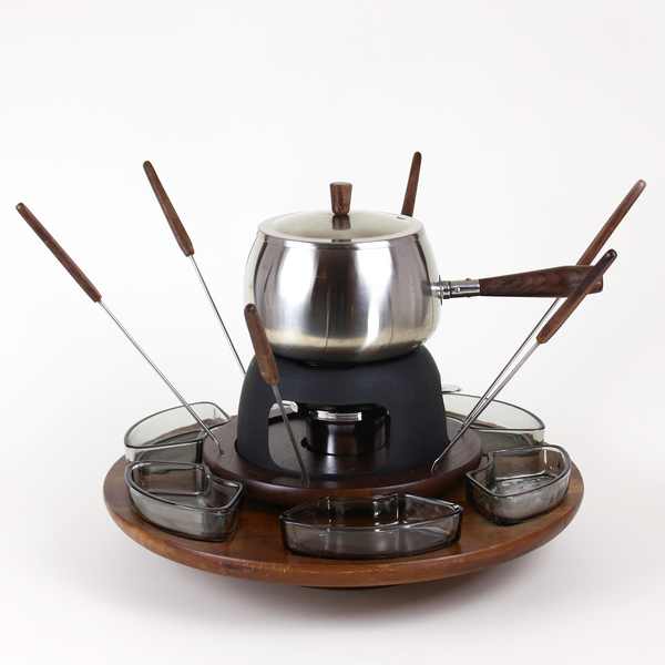lazy susan fondue set in chrome and walnut audrey would. Black Bedroom Furniture Sets. Home Design Ideas