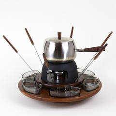 Lazy Susan Fondue Set in Chrome and Walnut
