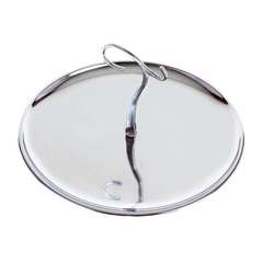 Dessert Tray, Chrome with Hooked Handle, Atomic Star Pattern