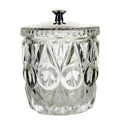 Pressed Glass Condiment Jar, Silver Plate Lid, Jam Pot