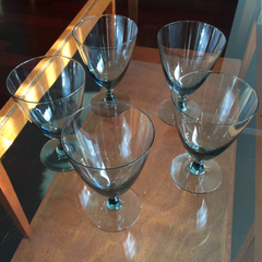 Mid Century Crystal Goblets, Smokey Black, Set of 5
