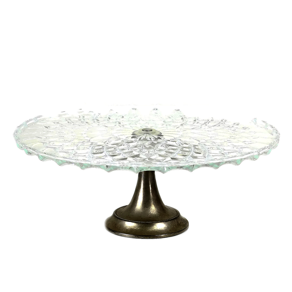 Art Deco 1940s Glass Cake Stand with Silver Plate Base  sc 1 st  Audrey Would! & Art Deco 1940s Glass Cake Stand with Silver Plate Base \u2013 Audrey Would!
