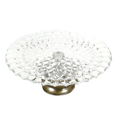 Elegant art deco glass cake plate stand from England features a Brama silver plate pedestal base with patina intact.