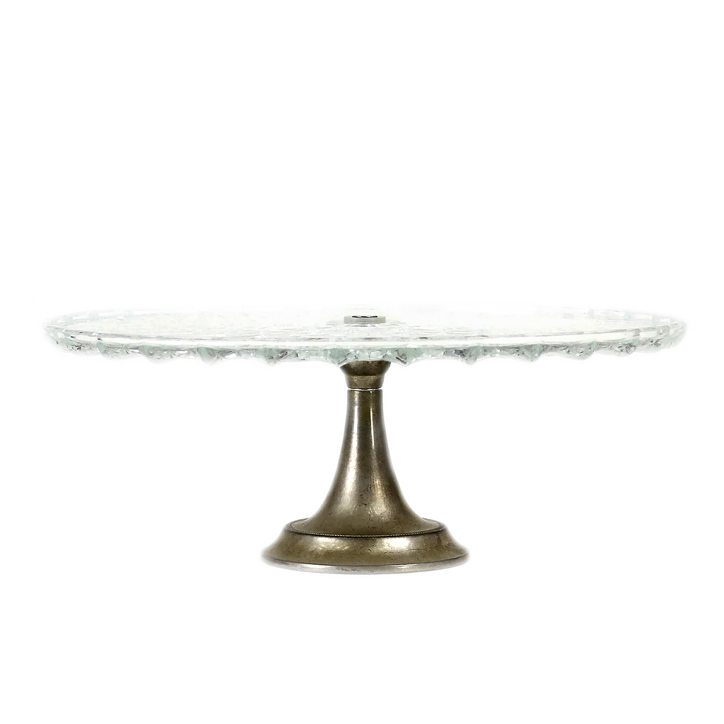 Art Deco 1940s Glass Cake Stand with Silver Plate Base ...