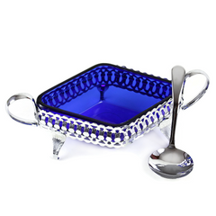 Vintage Jam Compote & Spoon Set, Cobalt & Chrome