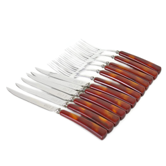 Glo-Hill Flatware Set, Marbled Cognac Handles, Cutlery