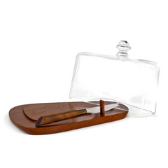Vintage Teak Cheese Board & Glass Cover, Karl Holmberg