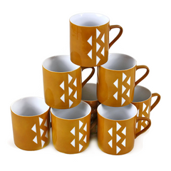 Vintage Coffee Mugs. Homer Laughlin. Caramel with White Triangles.