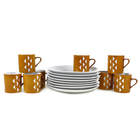 Vintage Snack Sets, 8 Coffee Mugs & Plates by Homer Laughlin