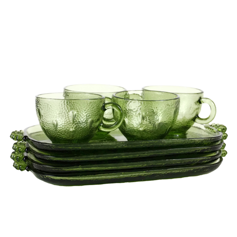 Vintage Snack Set, Green Pebbletone Pattern, Hazel Atlas