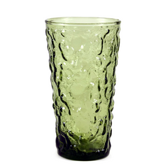 8-Glass Tumbler Caddy Set, Avocado Green, Anchor Hocking Lido Glass