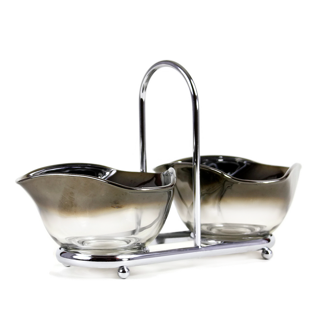 Silver Ombre Two-Bowl Caddy Set, Amoeba Shape, Mid-Century