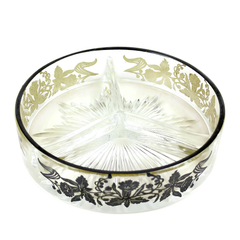 Sterling Rim 3-Section Relish Dish, Daffodil Pattern, 1940s