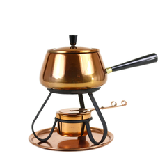 Vintage Copper Fondue Pot, Tray & Wrought Iron Stand, 1960s