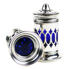 Salt & Pepper Shakers, Cutout Star & Oval Silver Casing, Cobalt Insert