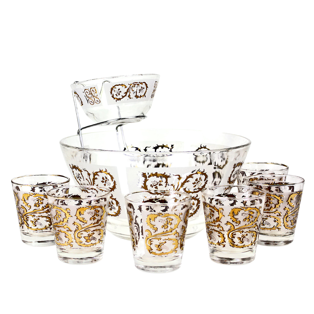 Mid-Century whiskey glasses in 22k gold with chip & dip bowl set