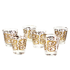 Vintage 22k gold whiskey glasses by Dominion Glass