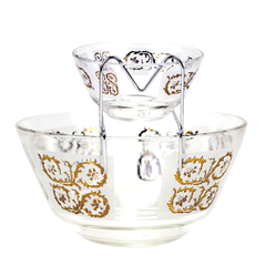Vintage chip & dip bowl set by Dominion Glass