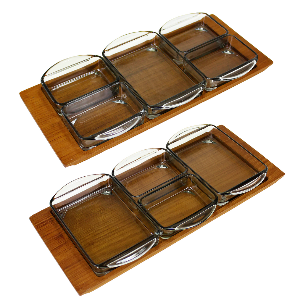 Vintage Danish Modern Condiment Trays, Relish Trays