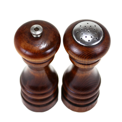 Baribocraft Salt and Pepper Set. Top View. Wooden Salt and Pepper Shakers.