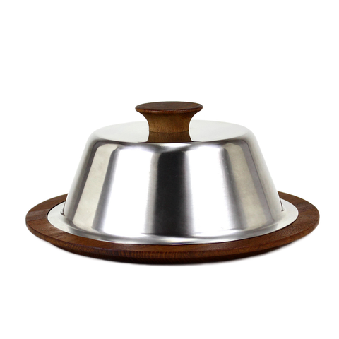 Danish Modern Cheese Board, Chrome Topper, Teak Base
