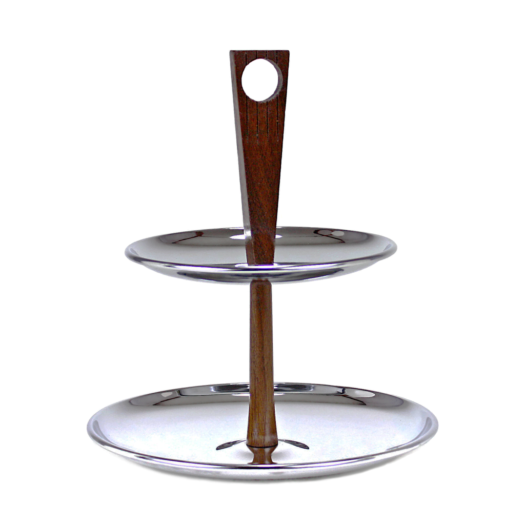 Mid-Century Danish Modern 2-tier chrome and wood appetizer or dessert tray features minimalist wooden post with cut-out circle detail.